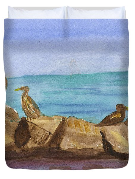 Duvet Cover featuring the painting Falmouth Mass by Donna Walsh