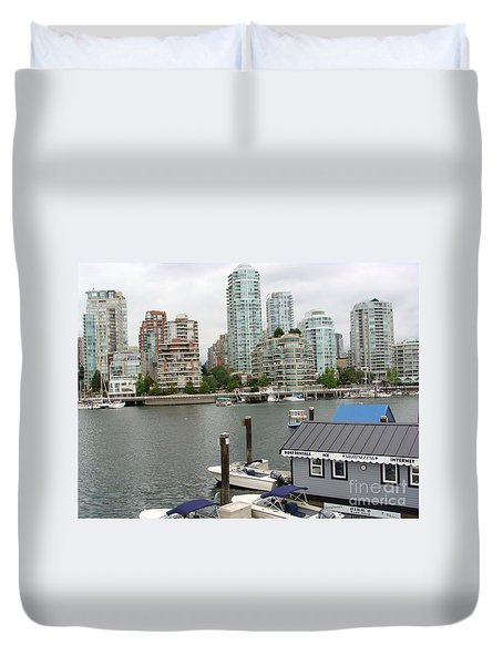 Duvet Cover featuring the painting False Creek Vancouver by Rod Jellison