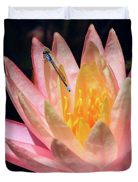 Familiar Bluet Damselfly And Lotus 2 Duvet Cover