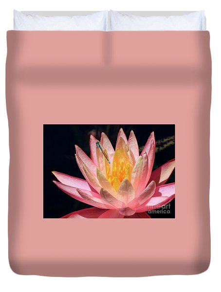 Familiar Bluet Damselfly And Lotus 2 Duvet Cover