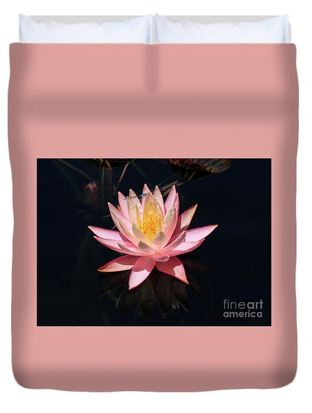 Familiar Bluet Damselfly And Lotus  Duvet Cover