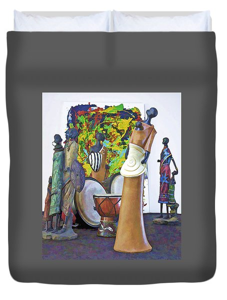 Duvet Cover featuring the photograph Families Visiting African Art Museum by Elf Evans