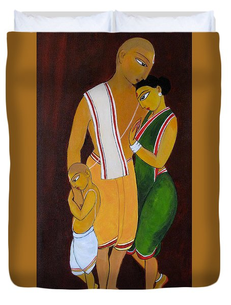 Duvet Cover featuring the painting Family by Asha Sudhaker Shenoy