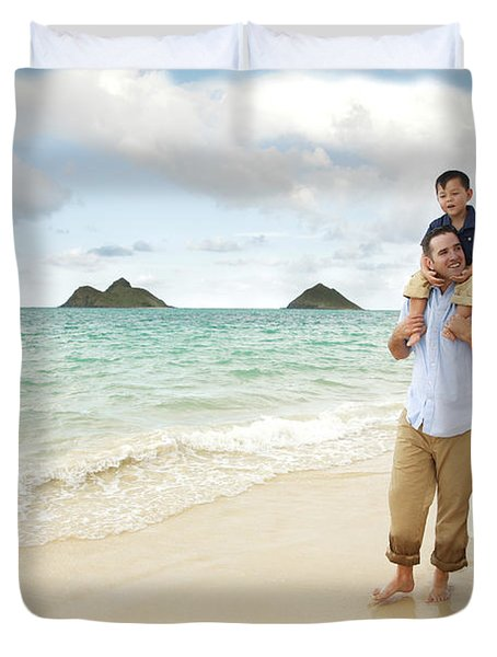 Family At Lanikai I Duvet Cover by Brandon Tabiolo - Printscapes
