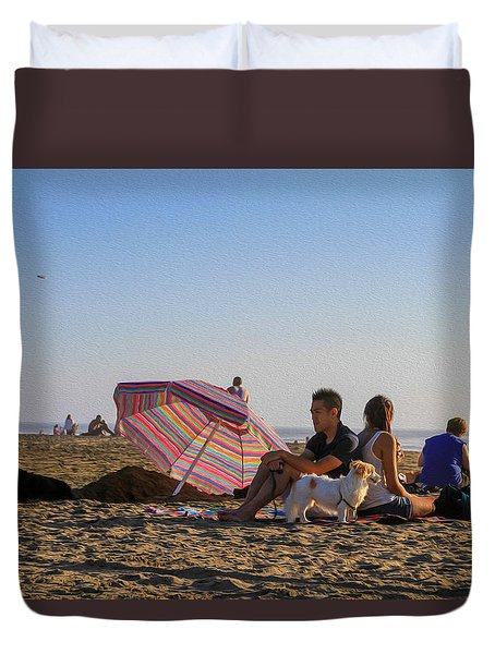 Family At Ocean Beach With Dogs Duvet Cover