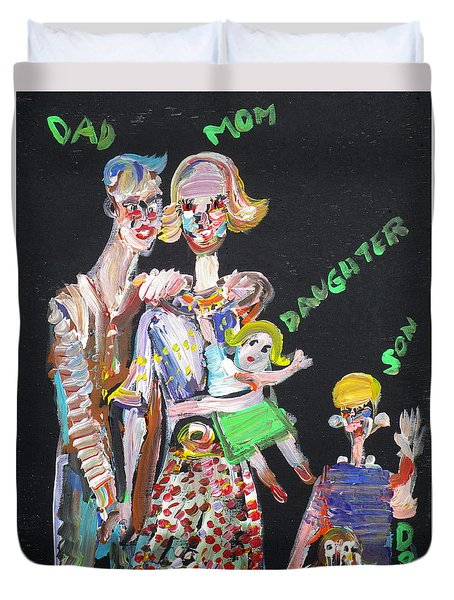 Duvet Cover featuring the painting Family Day by Fabrizio Cassetta
