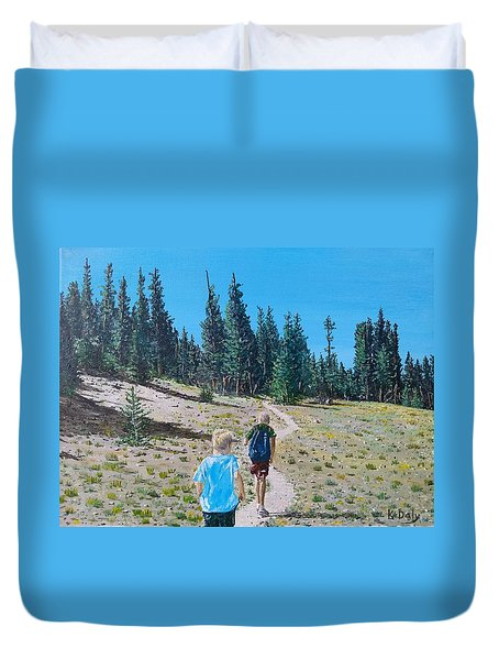 Family Hike Duvet Cover