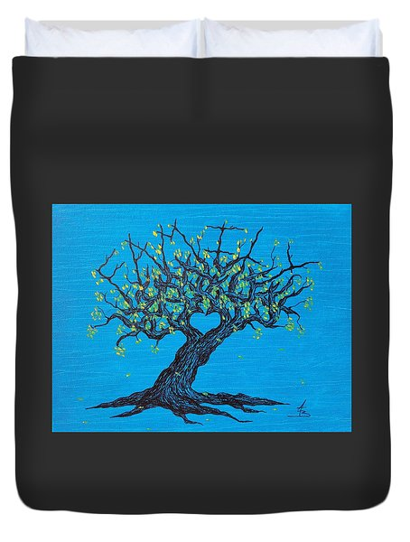 Duvet Cover featuring the drawing Family Love Tree by Aaron Bombalicki