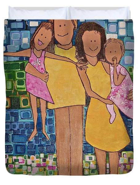 Duvet Cover featuring the painting Family Of 4 by Donna Howard
