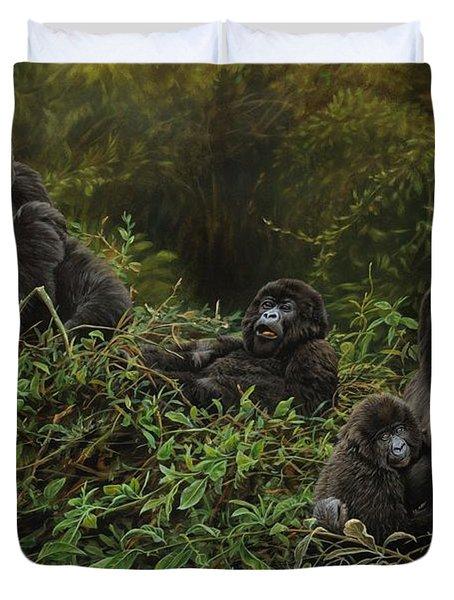 Family Of Gorillas Duvet Cover