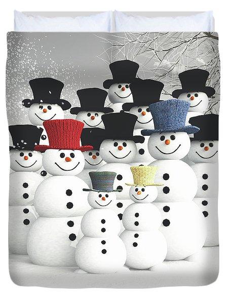 Family Of Snowmen Duvet Cover