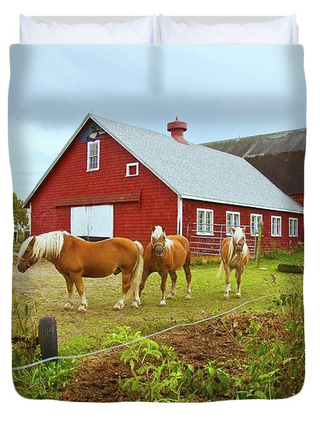 Family On The Farm Duvet Cover