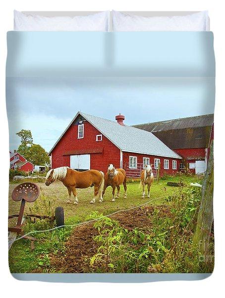 Family On The Farm Duvet Cover