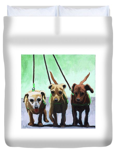 Family Ties - Chihuahuas Dog Painting Duvet Cover