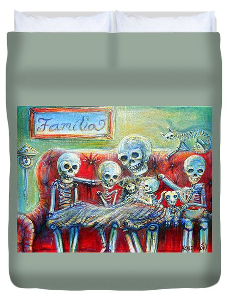 Duvet Cover featuring the painting Family Time by Heather Calderon