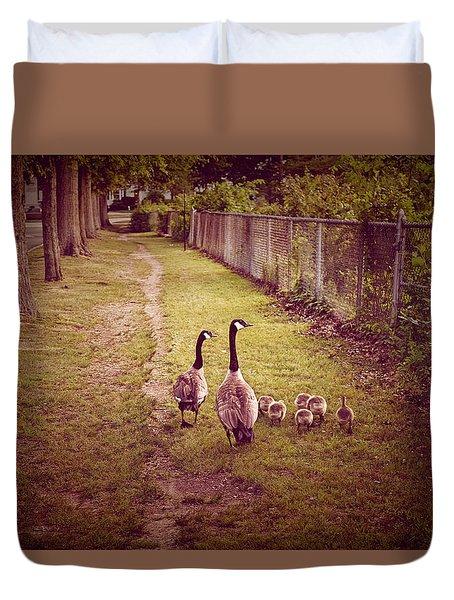 Family Walk Duvet Cover