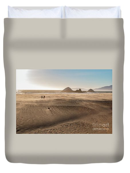 Family Walking On Sand Towards Ocean Duvet Cover