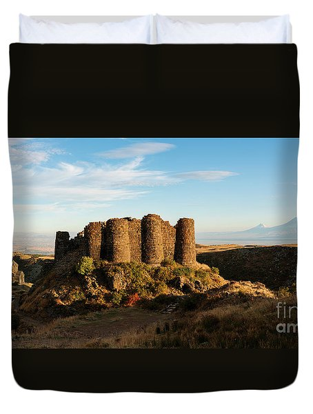 Famous Amberd Fortress With Mount Ararat At Back, Armenia Duvet Cover by Gurgen Bakhshetsyan