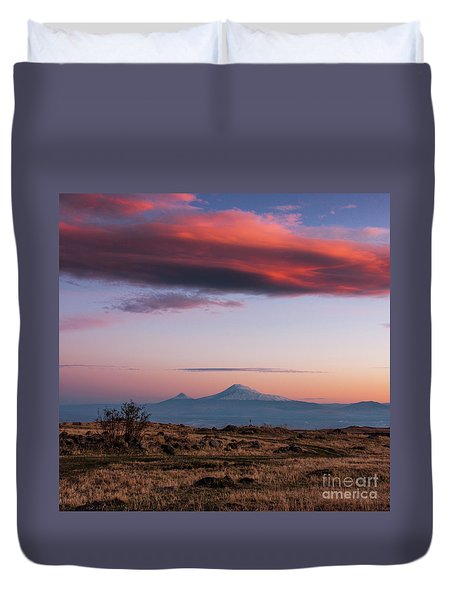Famous Ararat Mountain During Beautiful Sunset As Seen From Armenia Duvet Cover