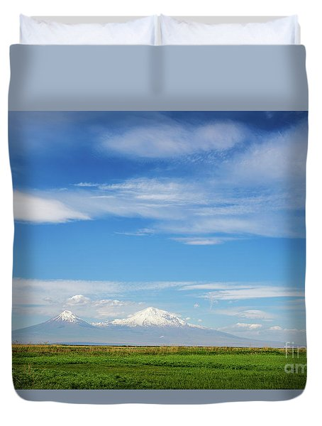 Famous Ararat Mountain Under Beautiful Clouds As Seen From Armenia Duvet Cover by Gurgen Bakhshetsyan