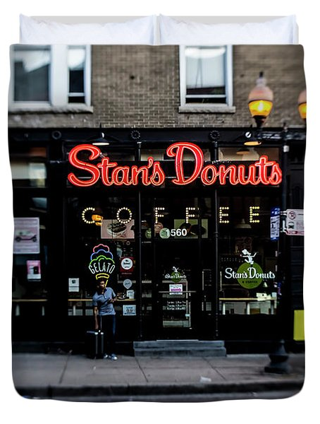 Famous Chicago Donut Shop Duvet Cover