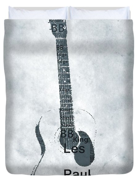 Famous Guitarists Typography Cool Duvet Cover by Dan Sproul
