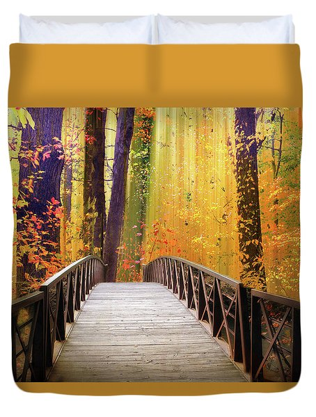 Duvet Cover featuring the photograph Fanciful Footbridge by Jessica Jenney
