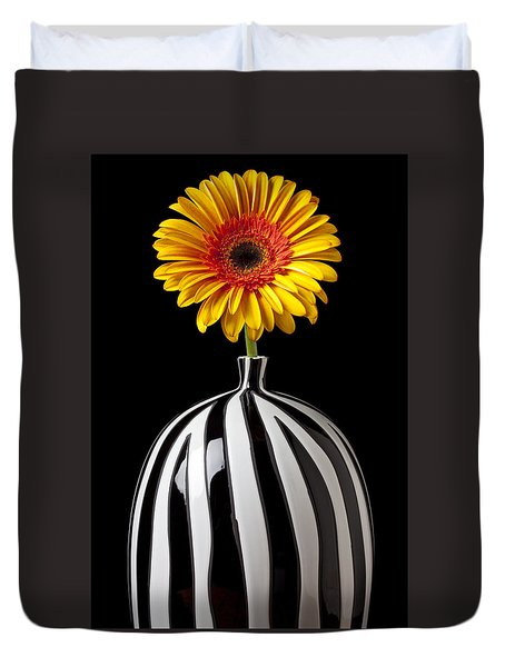 Fancy Daisy In Stripped Vase  Duvet Cover by Garry Gay
