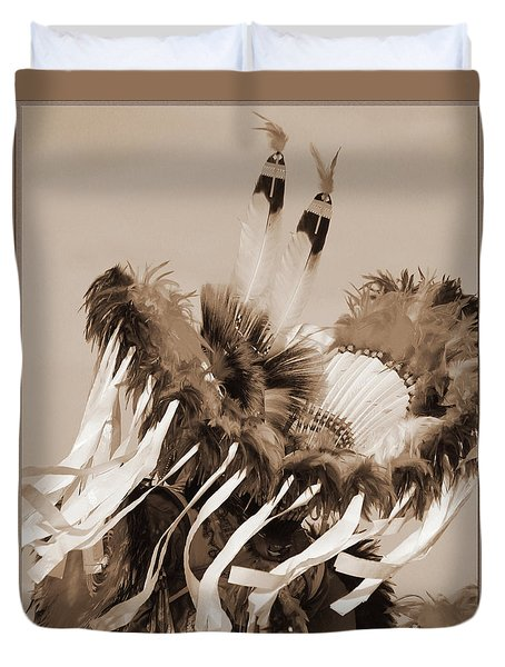 Duvet Cover featuring the photograph Fancy Dancer In Sepia by Heidi Hermes