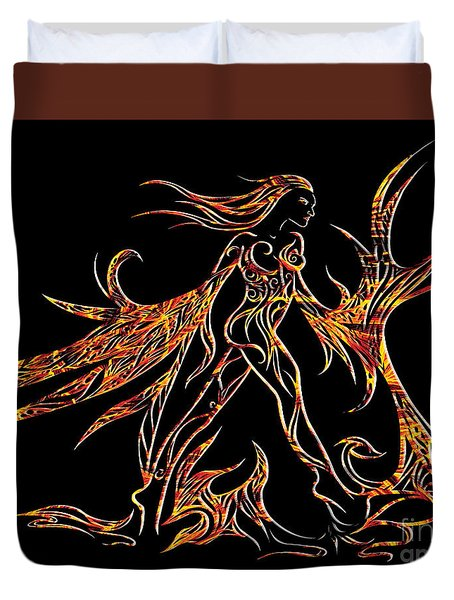 Duvet Cover featuring the drawing Fancy Flight On Fire by Jamie Lynn