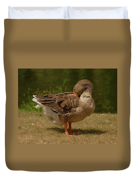 Duvet Cover featuring the photograph Fancy Goose by Ramona Whiteaker