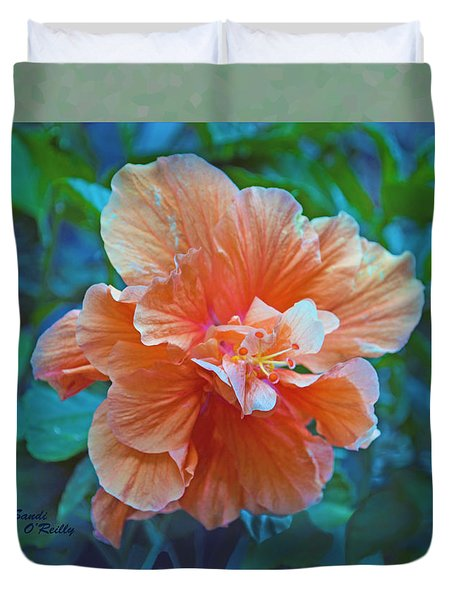 Fancy Peach Hibiscus Duvet Cover by Sandi OReilly