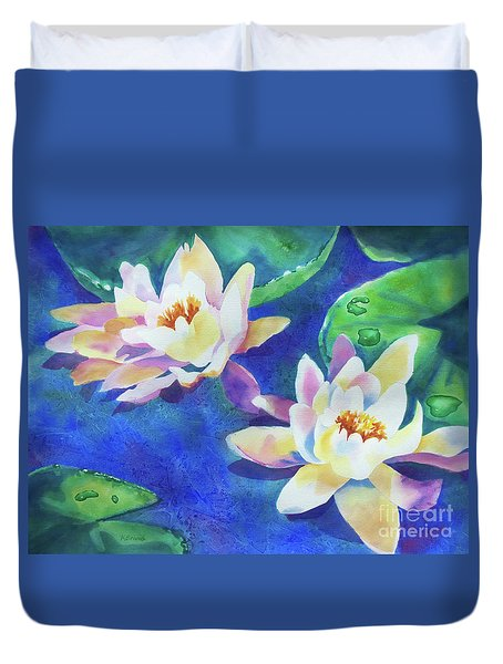 Duvet Cover featuring the painting Fancy Waterlilies by Kathy Braud