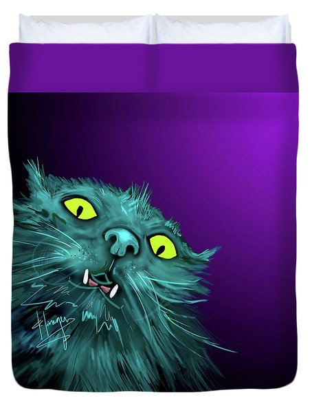 Duvet Cover featuring the painting Fang Dizzycat by DC Langer