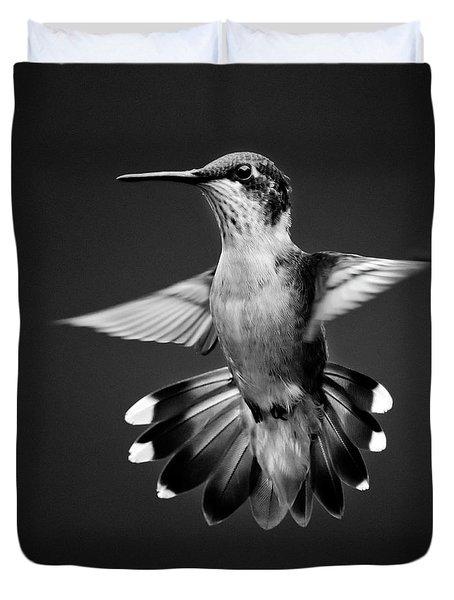 Fantail Hummingbird Square Bw Duvet Cover