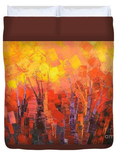 Duvet Cover featuring the painting Fantastic Fire by Tatiana Iliina