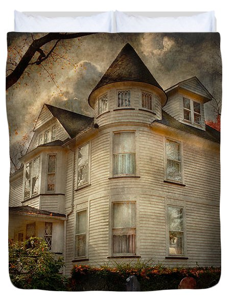 Fantasy - Haunted - The Caretakers House Duvet Cover by Mike Savad