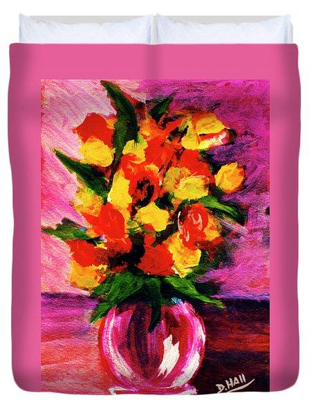 Fantasy Flowers Still Life #118, Duvet Cover by Donald k Hall