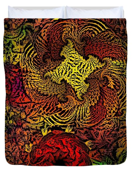 Fantasy Flowers Woodcut Duvet Cover by David Lane
