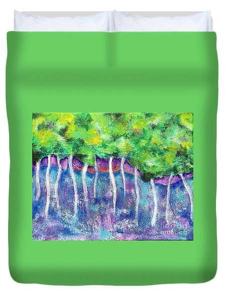 Duvet Cover featuring the painting Fantasy Forest by Elizabeth Fontaine-Barr