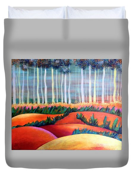 Duvet Cover featuring the painting Through The Mist by Elizabeth Fontaine-Barr