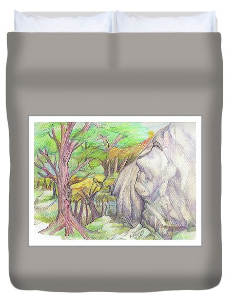 Fantasy Forest Rock Duvet Cover by Ruth Renshaw