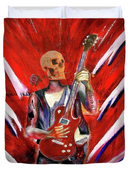 Fantasy Heavy Metal Skull Guitarist Duvet Cover by Tom Conway