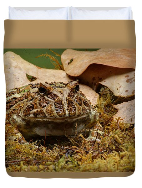 Duvet Cover featuring the photograph Fantasy - Horned Frog by Nikolyn McDonald