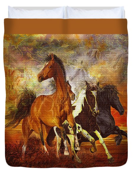 Duvet Cover featuring the painting Fantasy Horse Visions by Steve Roberts