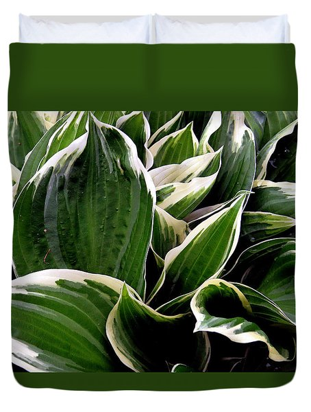 Fantasy In White And Green Duvet Cover