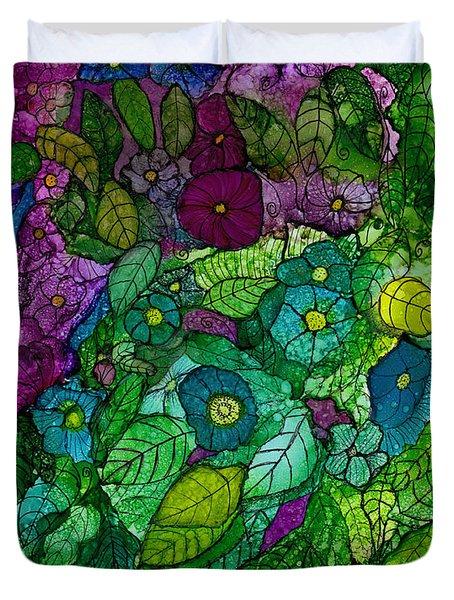 Fantasy Zen Flowers In Alcohol Ink Duvet Cover