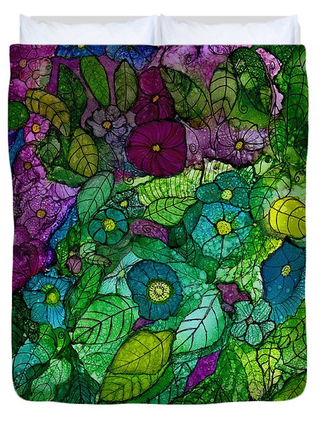 Fantasy Zen Flowers In Alcohol Ink Duvet Cover