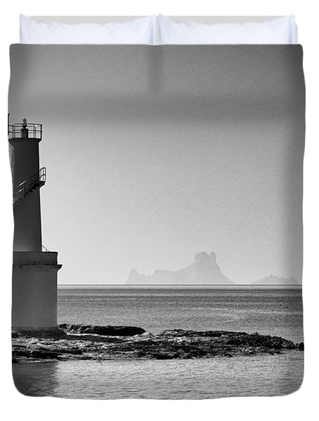 Far De La Savina Lighthouse, Formentera Duvet Cover by John Edwards