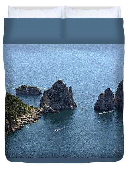 Faraglioni A Capri  Duvet Cover
